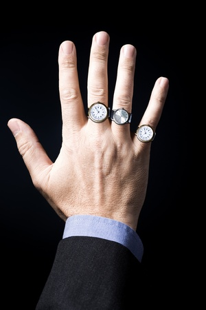 Symbolic picture with a businessmans hand photo