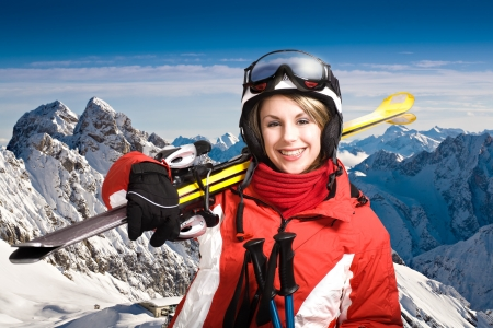 winter sports: A woman skiing in the Alps, outdoor shoot.