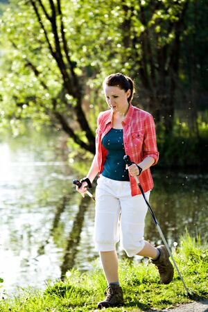 young woman Hiking In The Wild Nature Stock Photo - 11955830