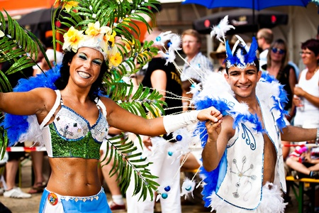 COBURG, GERMANY - JULY 10: Unidentified samba dancers participates at the annual samba festival in Coburg, Germany on July 10, 2011.