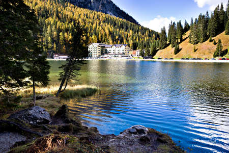 lake misurina: Lago Misurina, Misurina lake in Dolomite Alps, Italy, Europe
