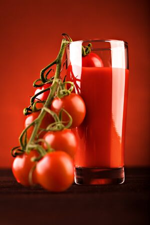 close up shut of tomato juice in a glass