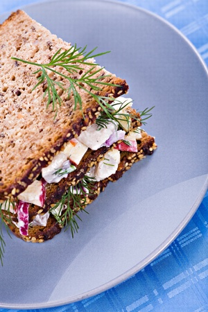 close up shoot of a plate with herring salad sandwich photo
