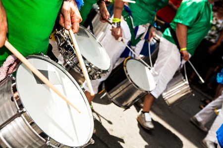 COBURG, GERMANY - JULY 11: An unidentified samba musician participates at the annual samba festival in Coburg, Germany on July 11, 2010. Imagens