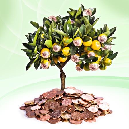 een symbolisch beeld voor financieel succes en geld besparen Stockfoto
