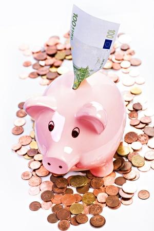abastecimiento: imagen simb�lica con la hucha de ahorro financiero Foto de archivo