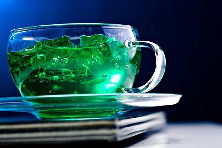 gelatine: close up of a glas with gelatine dessert