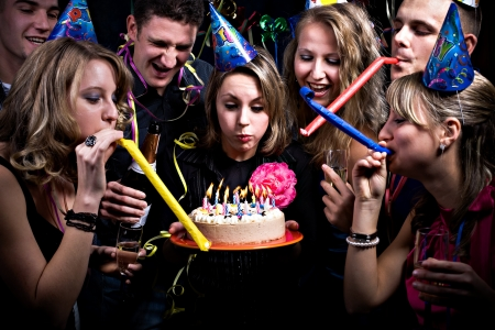 party dress: birthday party with many young people