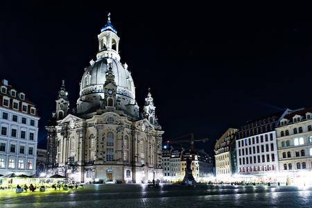 Dresden at night. Frauenkirche wiev. Stock Photo - 13047569