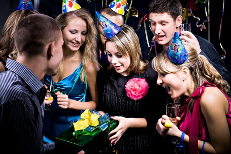 birthday party with many young people photo