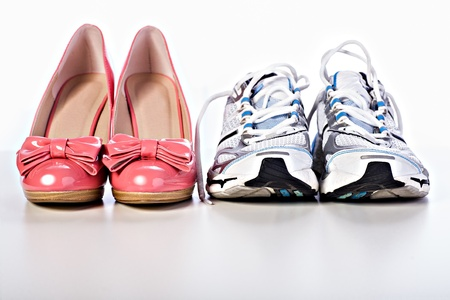 accesories: Close up shot of a pair High Heels shoes and runners