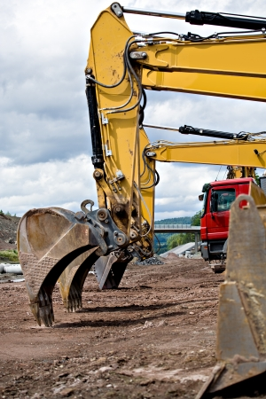 construction machinery: construction machines on neu motorway in Germany