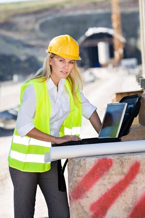 A young female constructor at building of a neu motorway in Germany Stock Photo - 14983028