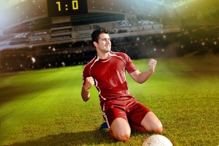 voetbal of voetbalster op het veld