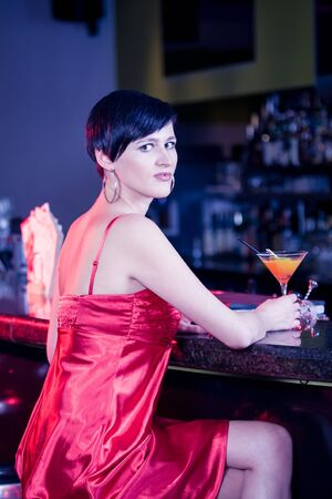 portrait of a young women in the bar Stock Photo - 15412147