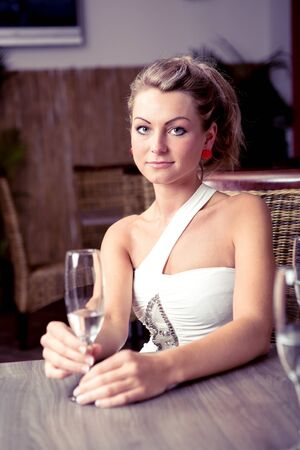 portrait of a young women in the bar Stock Photo - 15412166