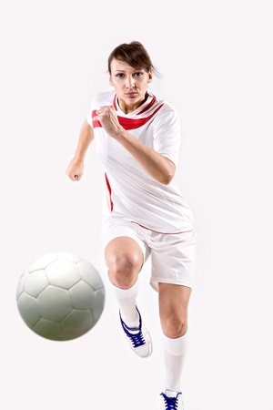 female soccer player on the field photo