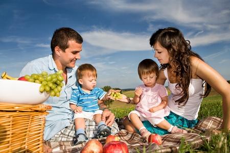 familia picnic: joven familia en la pradera en el d�a soleado Foto de archivo