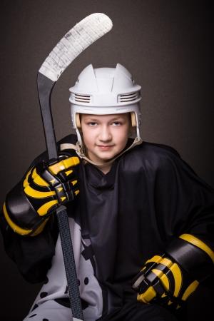 potrait: potrait of a teenage female hockey player Stock Photo