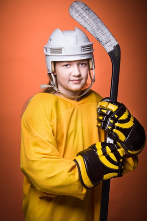 portrait of a teenage female hockey player photo