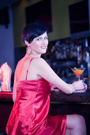 portrait of a young women in the bar Stock Photo - 17793305