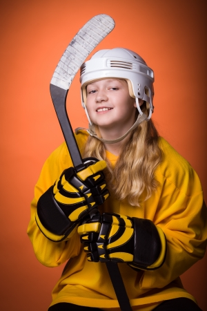 portrait of a teenage female hockey player