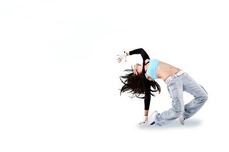 a young dancing woman in dancewear