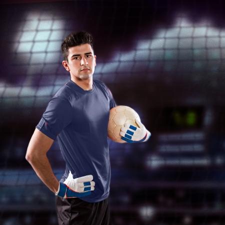 soccer or football  goalkeeper on the field
