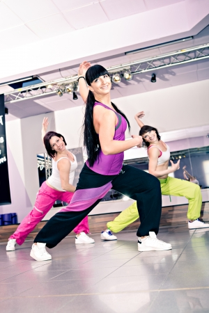 young women in sport dress at an aerobic and zumba exercise photo