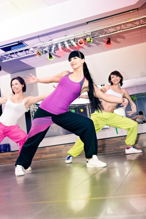 young women in sport dress at an aerobic and zumba exercise Stock Photo