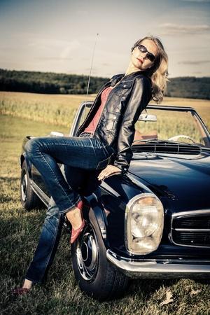 Young Girl at a Post-War Classic car photo