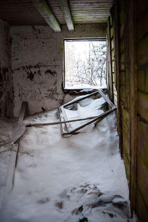squalid: inside shooting of a old and squalid building at winter Stock Photo