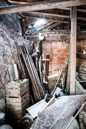 squalid: inside of an old and squalid building at winter