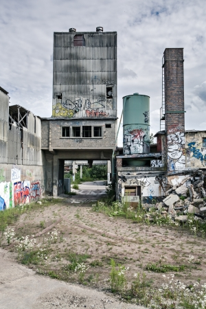 squalid: old and squalid factory building