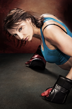 bo: young woman in sport dress at Tae Bo boxing exercise