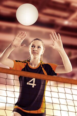 female volleyball: female volleyball player with a ball