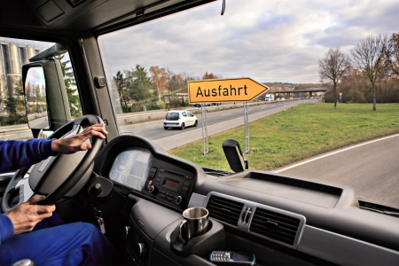 driver view from the cockpit of a truck on the road Standard-Bild