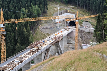 tunnel: Construction of new ICE railway line and tunnels.  The section Ebensfeld-Erfurt Dunkeltalbruecke, Tunnel Rehberg in Thuringia, Germany.