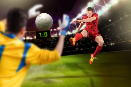 male soccer or football  player on the field Stock Photo