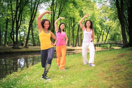 grupo de mujeres que bailan zumba baile de fitness o ejercicios aeróbicos en un viejo parque Foto de archivo