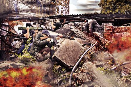 separatist: masked militant with a submachine gun by running street battle
