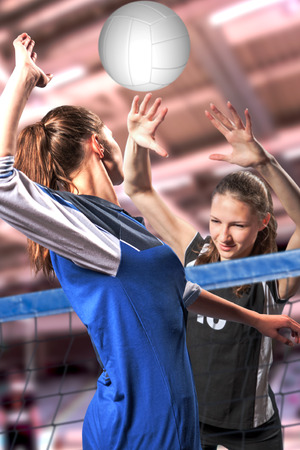 female volleyball players with a ball