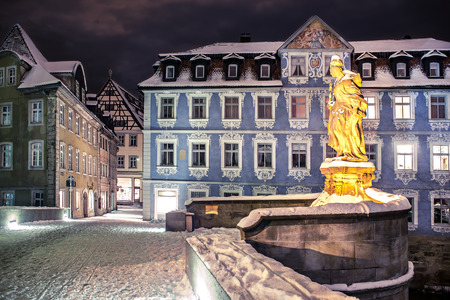 wintry: Night scenes of wintry Bamberg in Germany Editorial