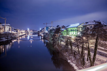 wintry: Night scenes of wintry Bamberg in Germany Stock Photo