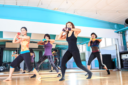 a group of women in sport dress at piloxing exercise Stockfoto