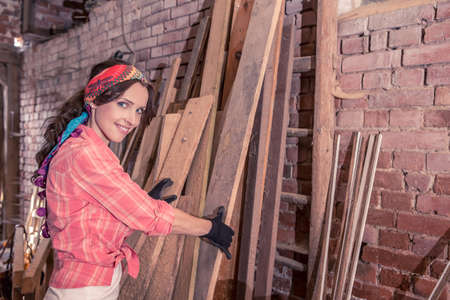 non urban: portrait of a young woman in the old barn Stock Photo