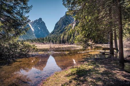 dolomite: Lago di Dobbiaco alias Toblacher See in Dolomite Alps, South Tirol, Italy