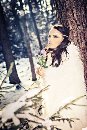 sexy elf: female elf with a rose in the wintry forest