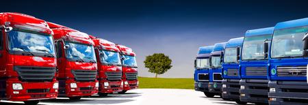 truck fleet on the car park