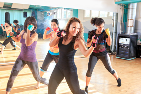 a group of women in sport dress at piloxing exercise 스톡 콘텐츠